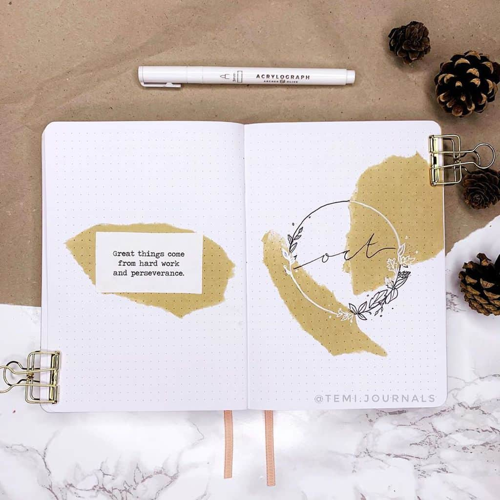 Kraft Paper Fall Bullet Journal Inspirations - cover page by @temi.journals | Masha Plans