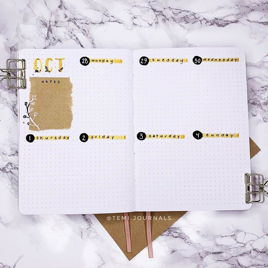 Kraft Paper Fall Bullet Journal Inspirations - weekly spread by @temi.journals | Masha Plans