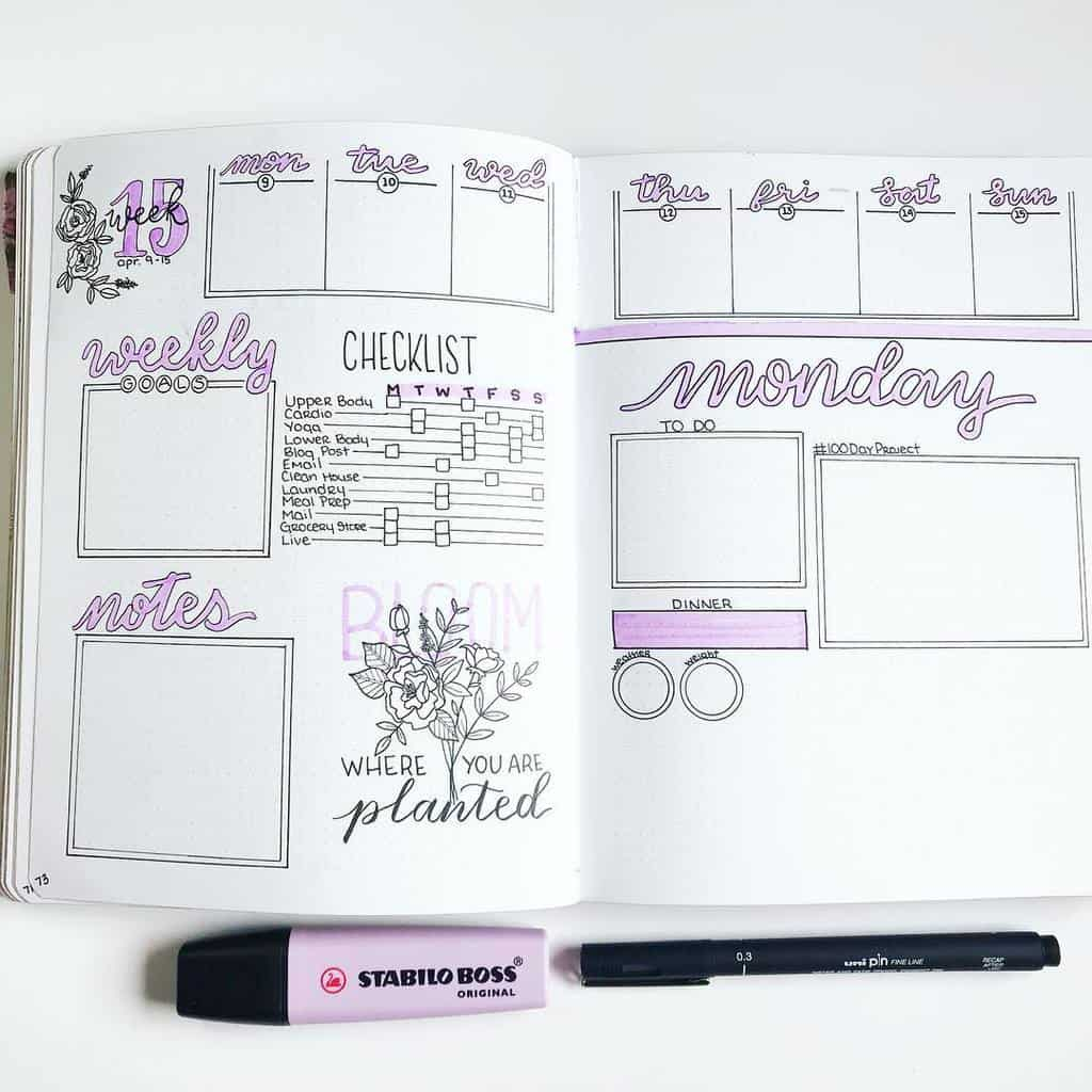 Bullet Journal Weekly Spread by @the.petite.planner   Masha Plans