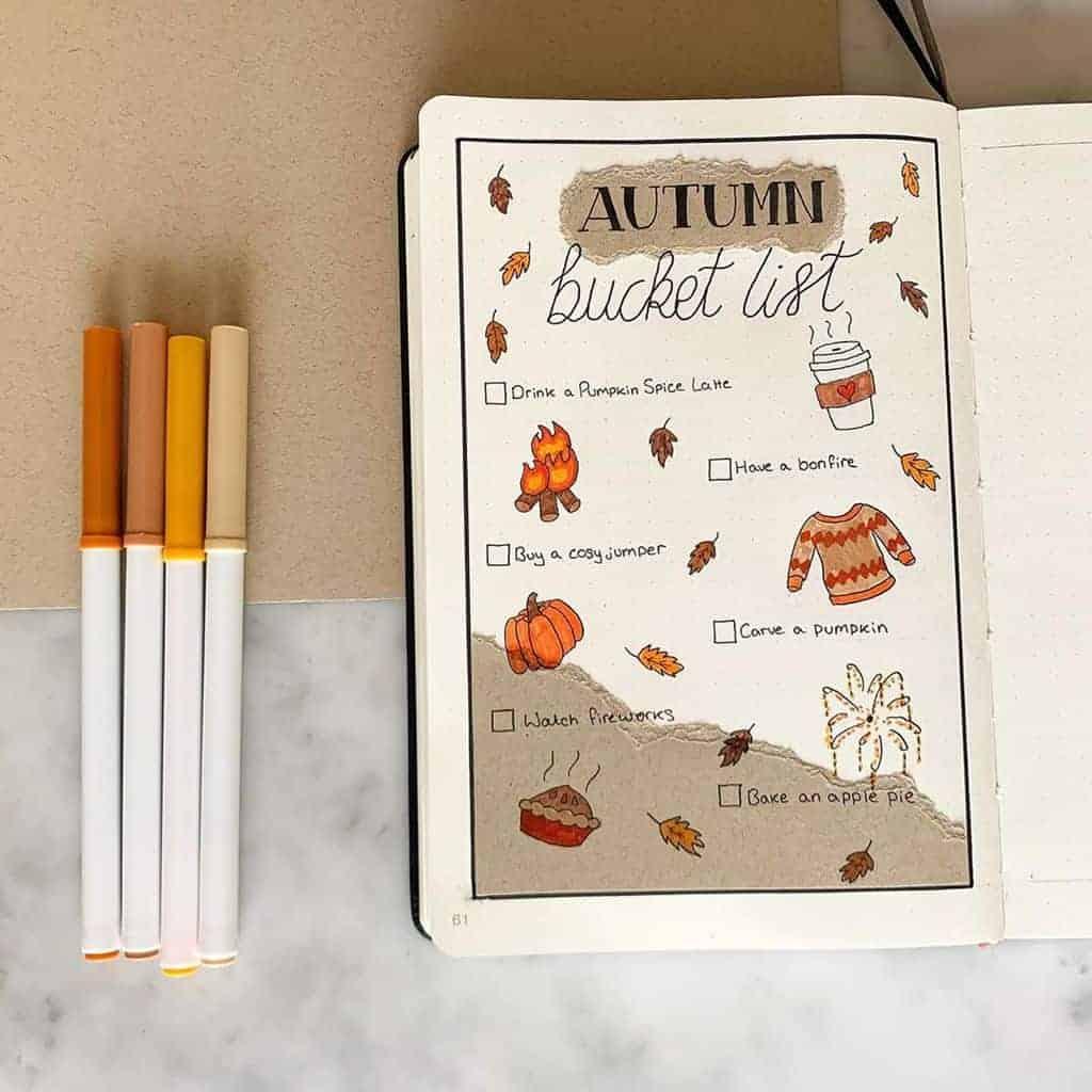 Kraft Paper Fall Bullet Journal Inspirations - fall bucket list by @the_bullet_blog | Masha Plans