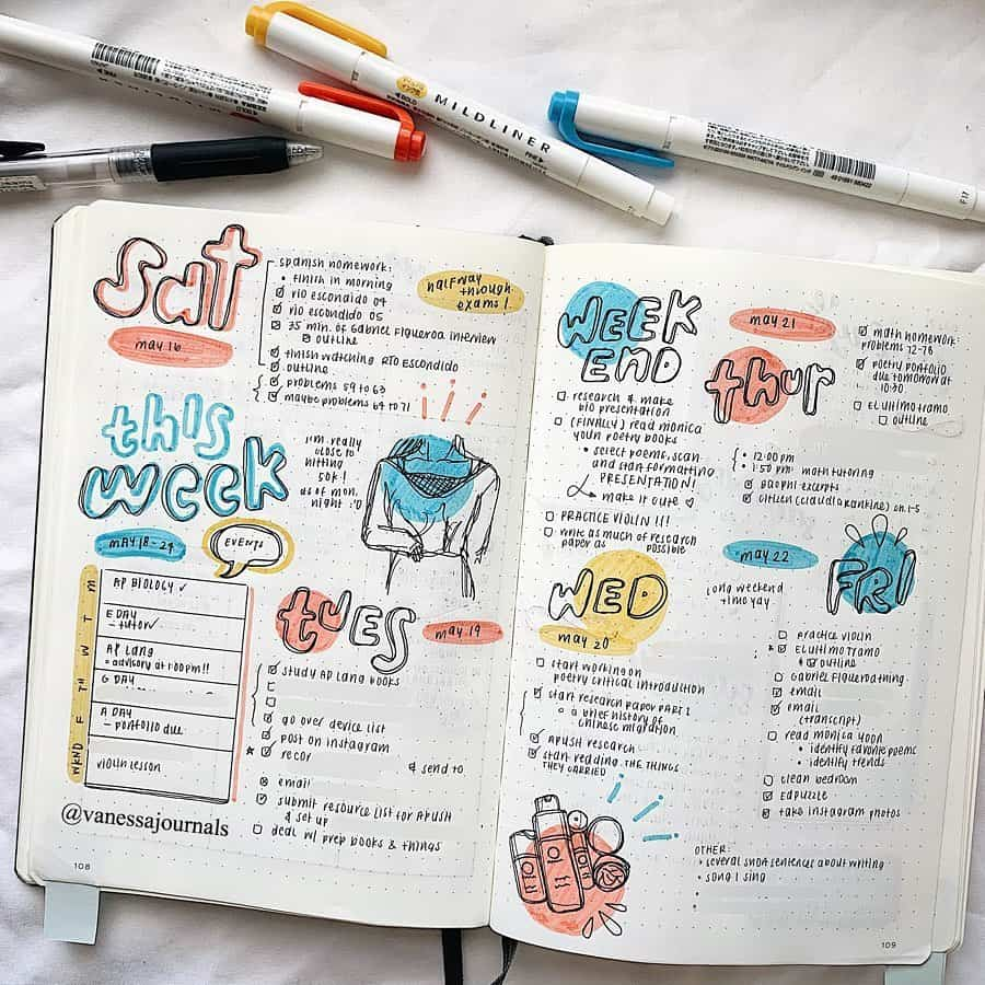 Bullet Journal Weekly Spread by @vanessajournals | Masha Plans