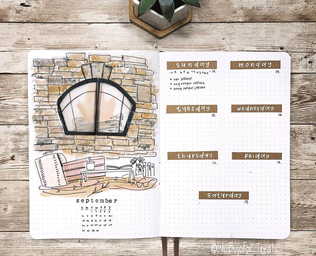 Kraft Paper Fall Bullet Journal Inspirations - weekly spread by @willbujofor.treats | Masha Plans