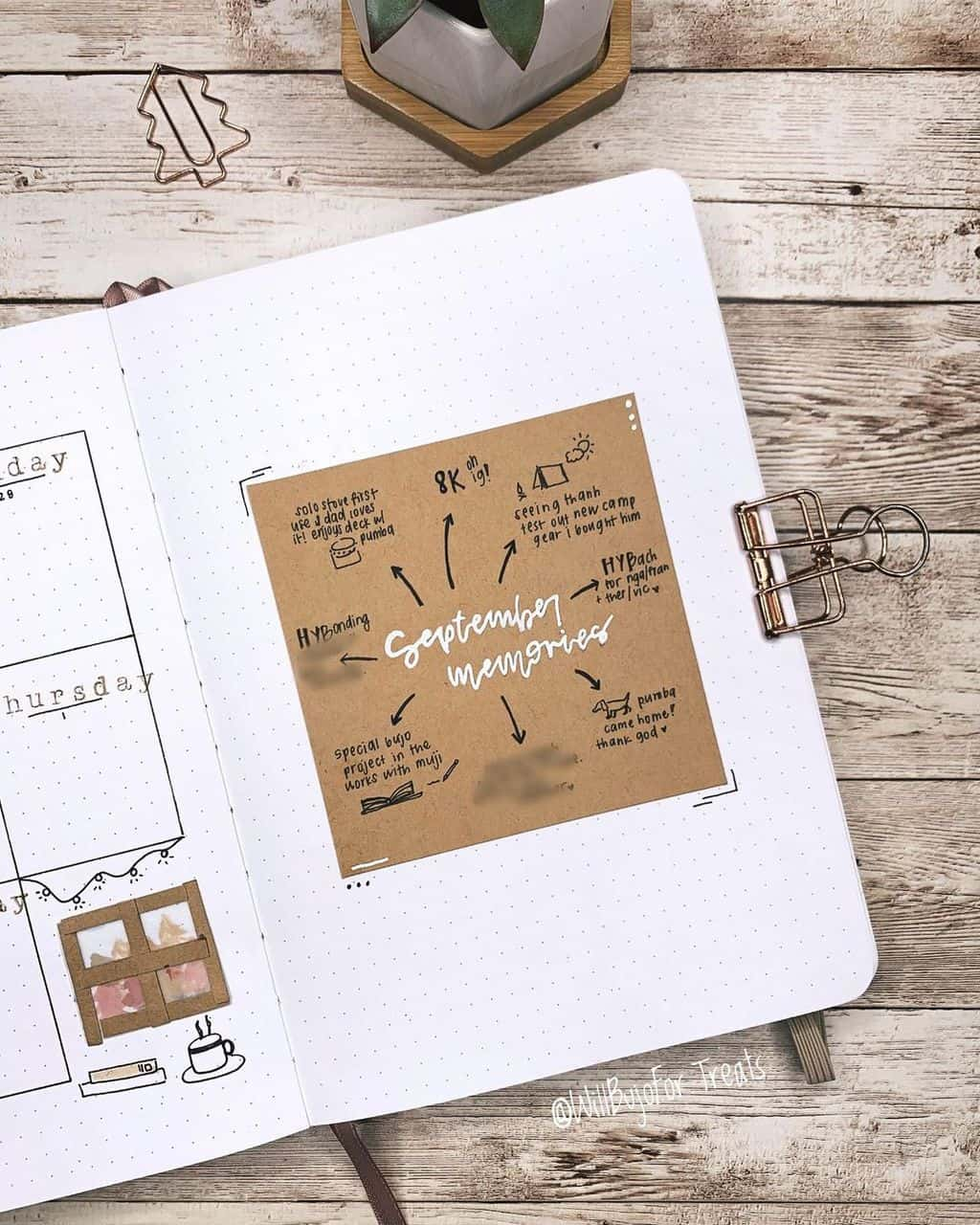 Kraft Paper Fall Bullet Journal Inspirations - memory page by @willbujofor.treats | Masha Plans