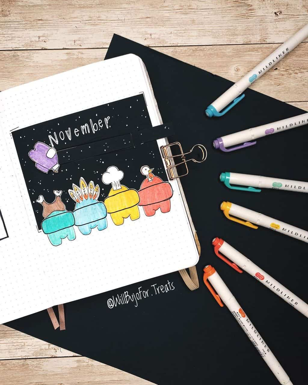 Among Us Themed Bullet Journal Inspirations, cover page by @willbujofor.treats | Masha Plans