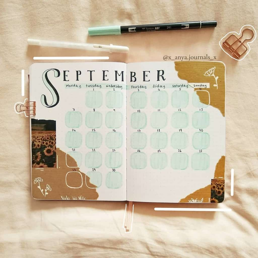 Kraft Paper Fall Bullet Journal Inspirations - monthly log by @x_anya.journals_x | Masha Plans
