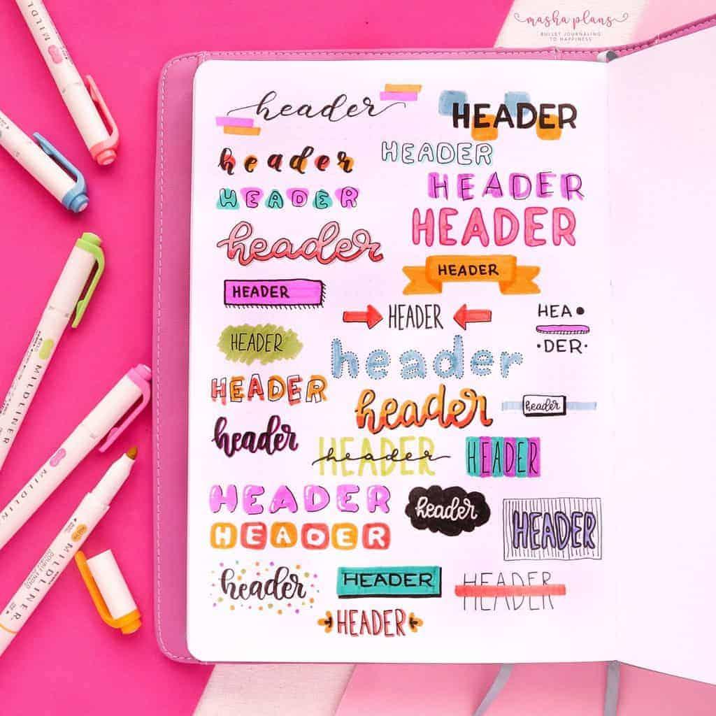 Bullet Journal Headers | Masha Plans