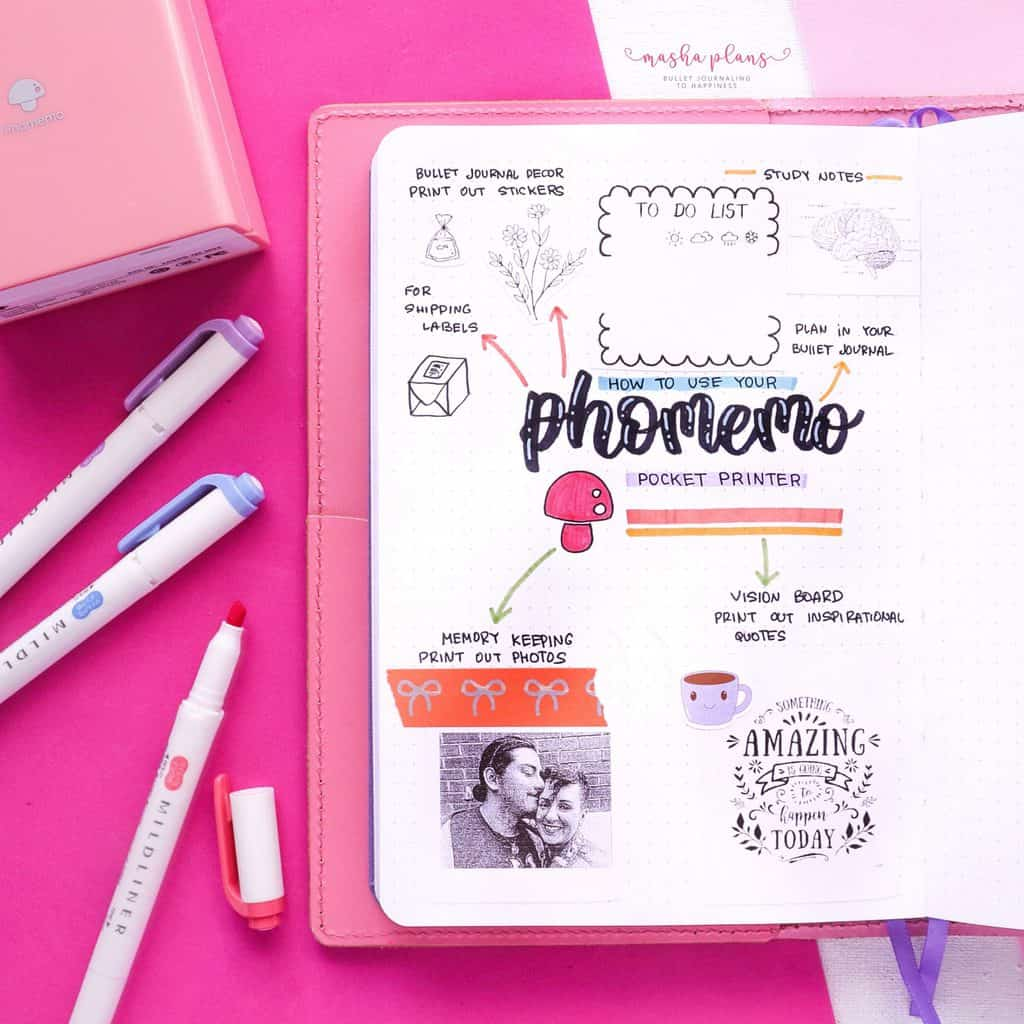 How to use Phomemo printer in your Bullet Journal | Masha Plans