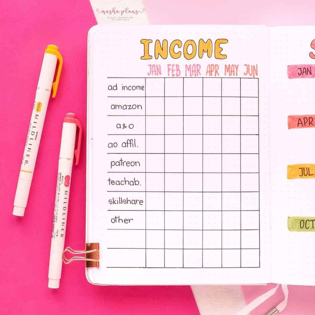 2021 Bullet Journal Setup, yearly income | Masha Plans
