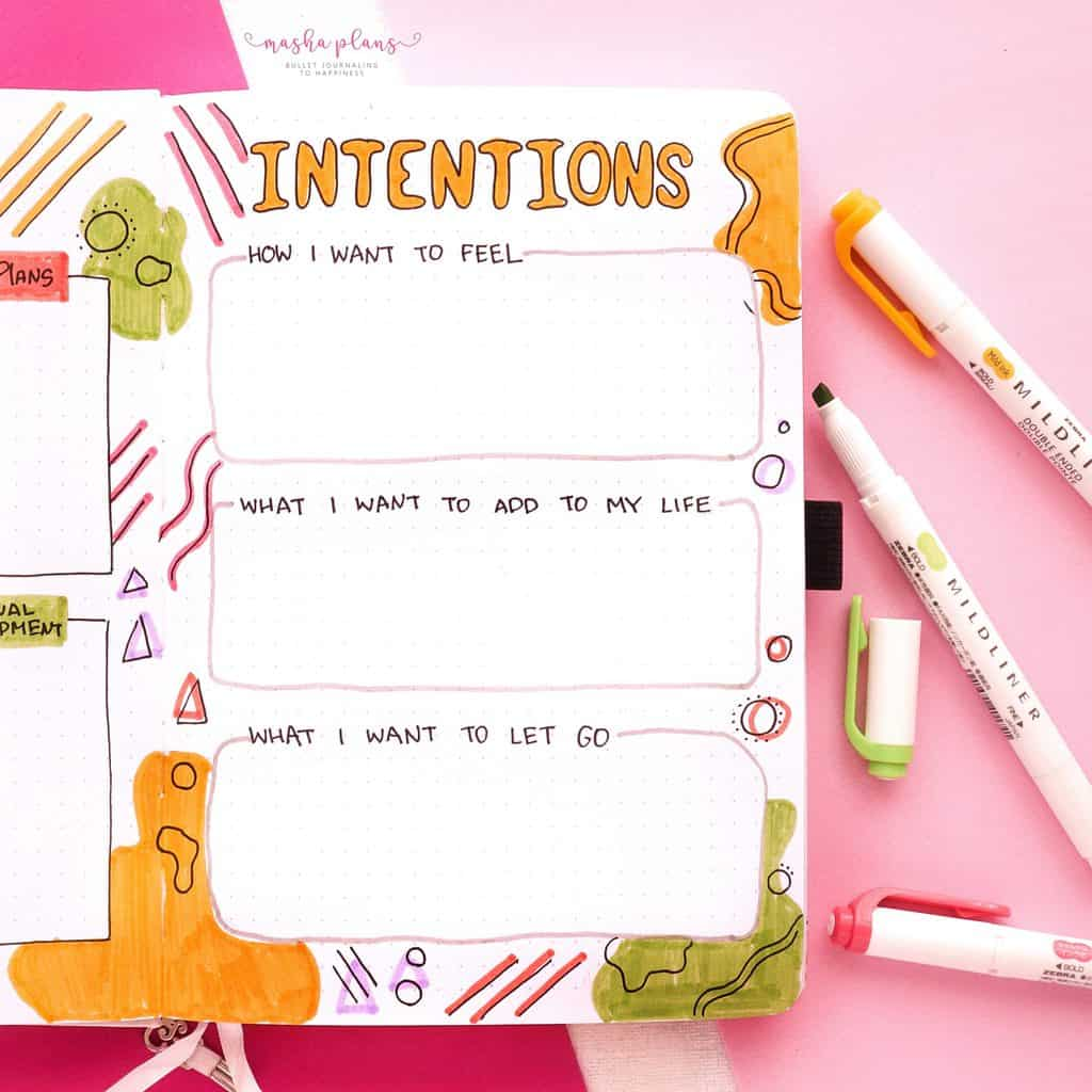 2021 Bullet Journal Setup, yearly intentions | Masha Plans