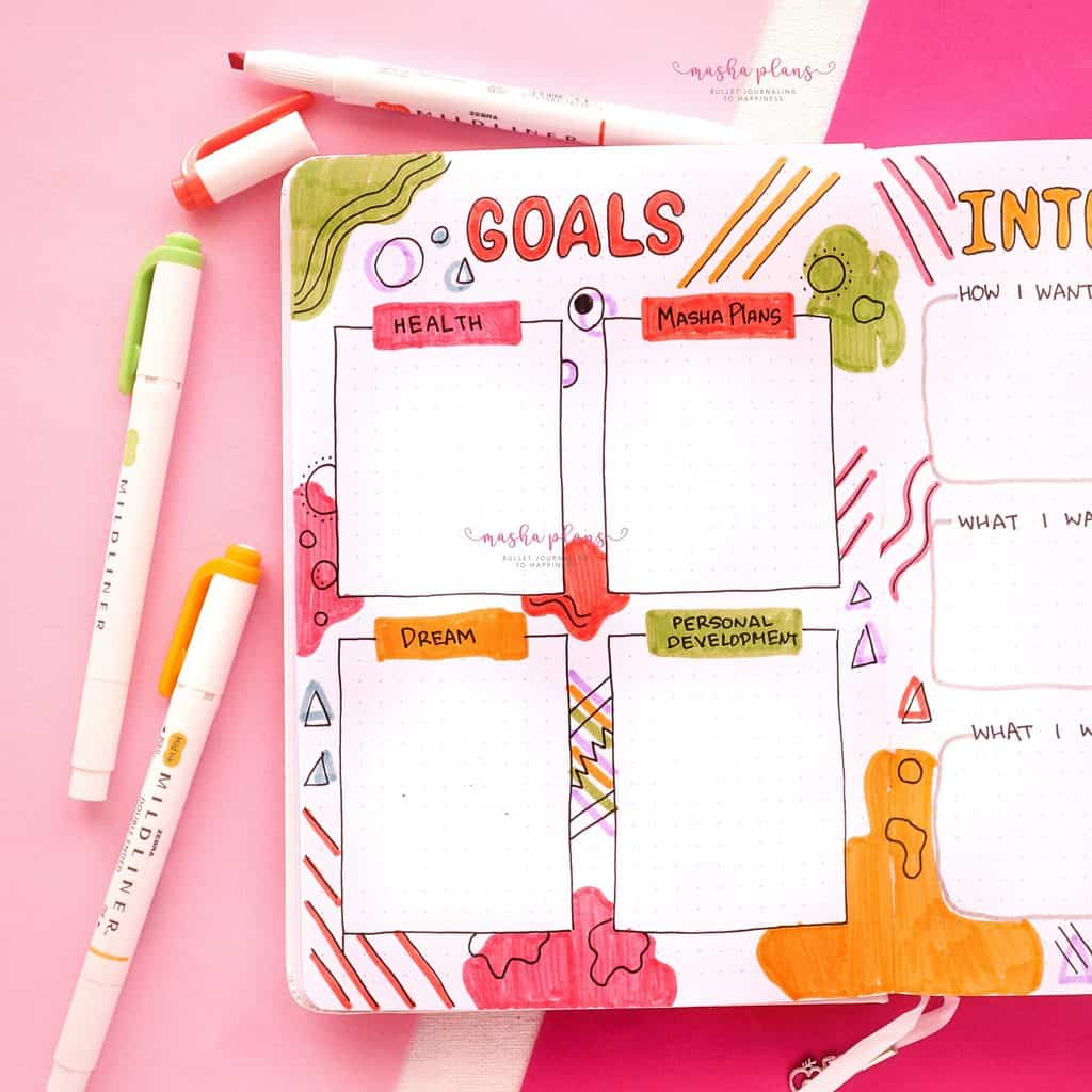2021 Bullet Journal Setup, yearly goals | Masha Plans