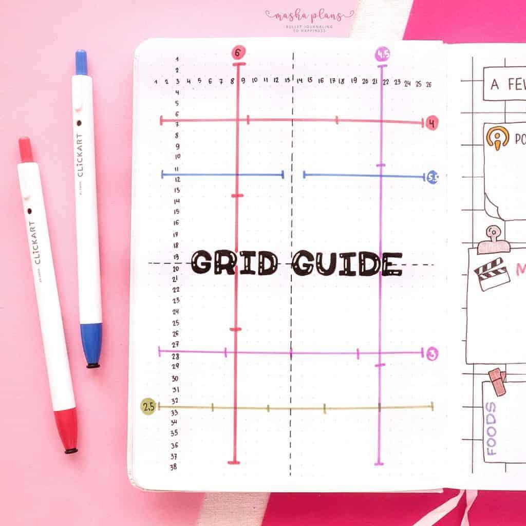 2021 Bullet Journal Setup, grid guide | Masha Plans