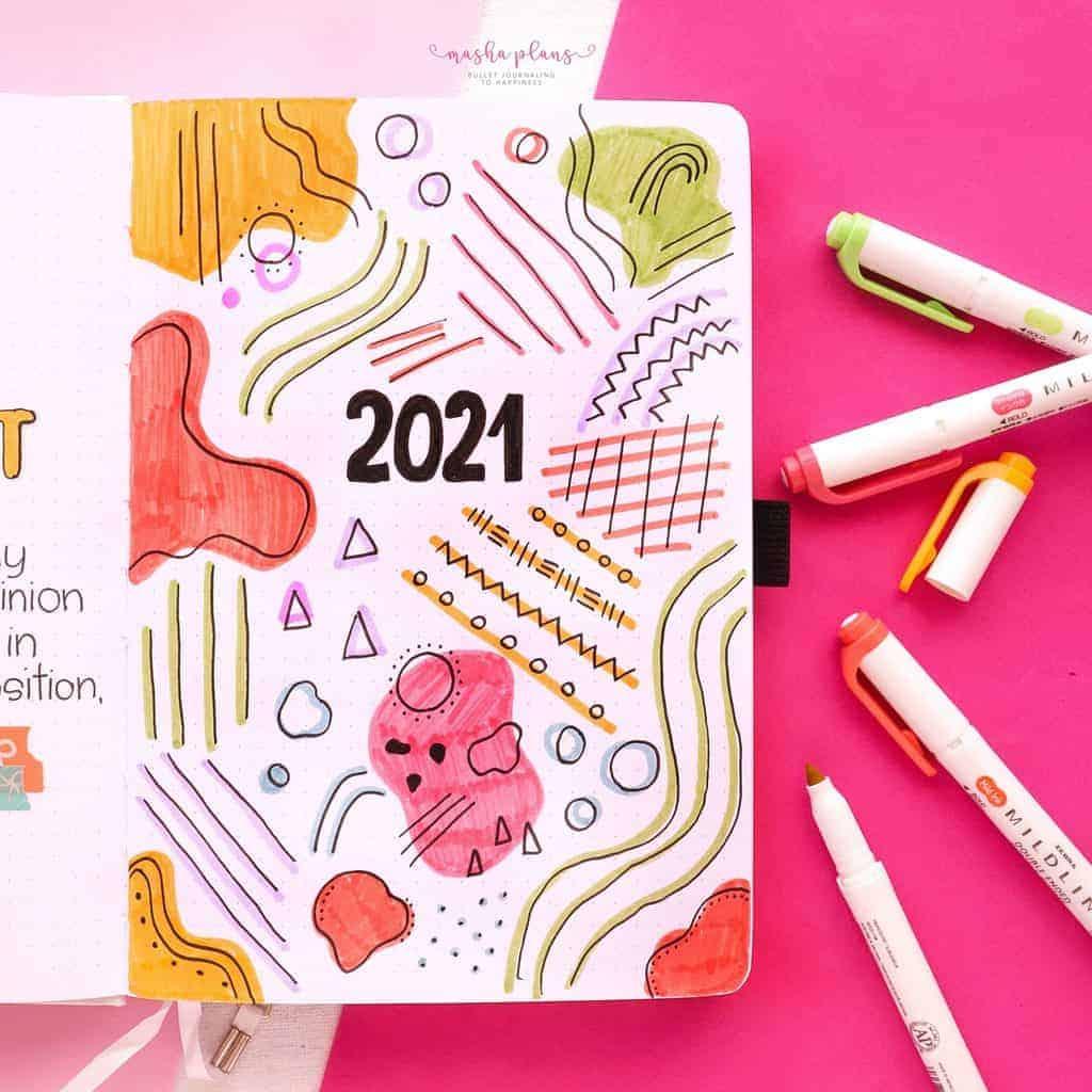2021 Bullet Journal Setup, cover page | Masha Plans