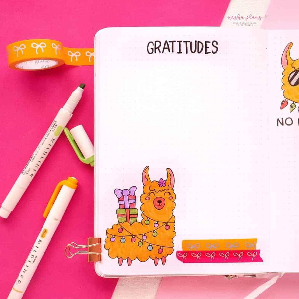 December Bullet Journal Setup, gratitude log | Masha Plans