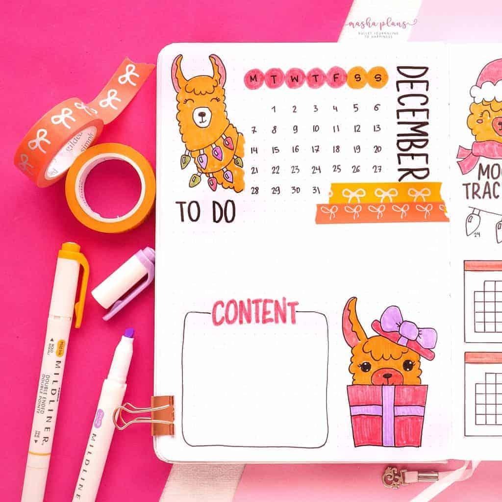 December Bullet Journal Setup, monthly log | Masha Plans