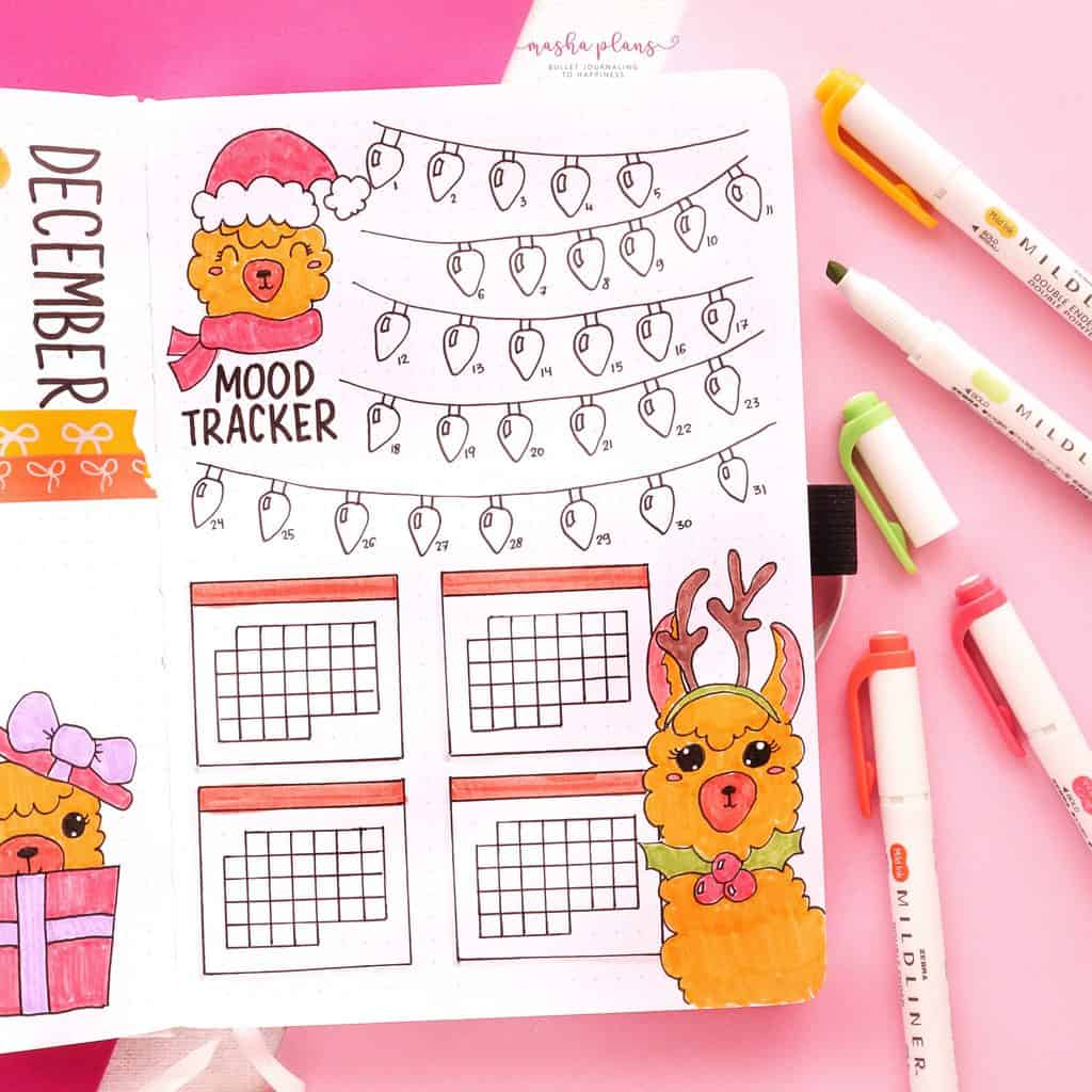 December Bullet Journal Setup, mood tracker / habit tracker | Masha Plans