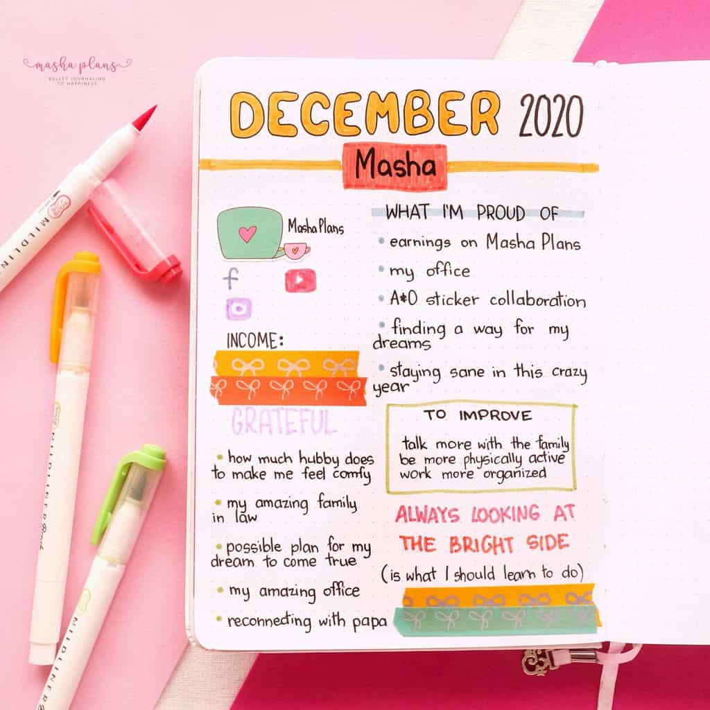 2021 Bullet Journal Setup, about me page | Masha Plans