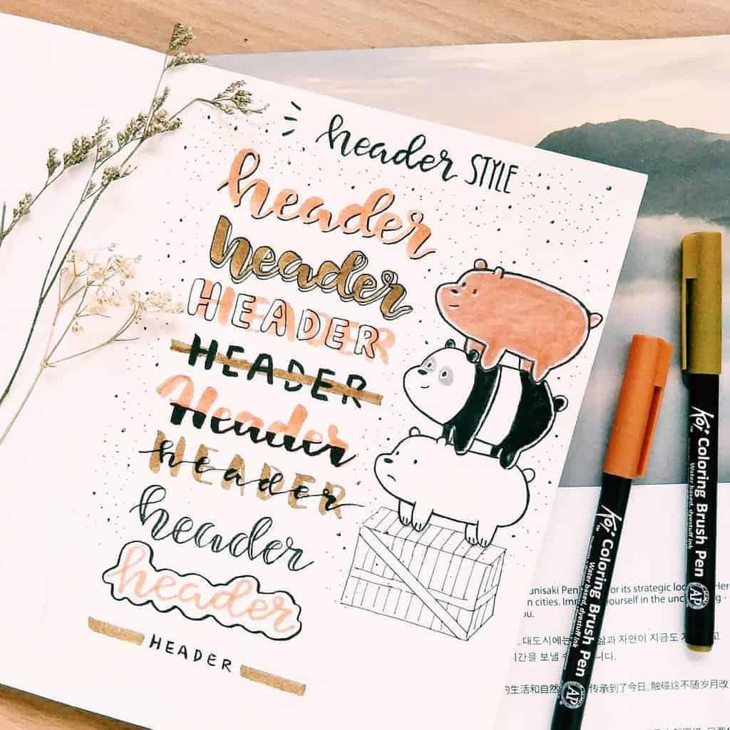 Bullet Journal Headers, ideas by @art_love98 | Masha Plans