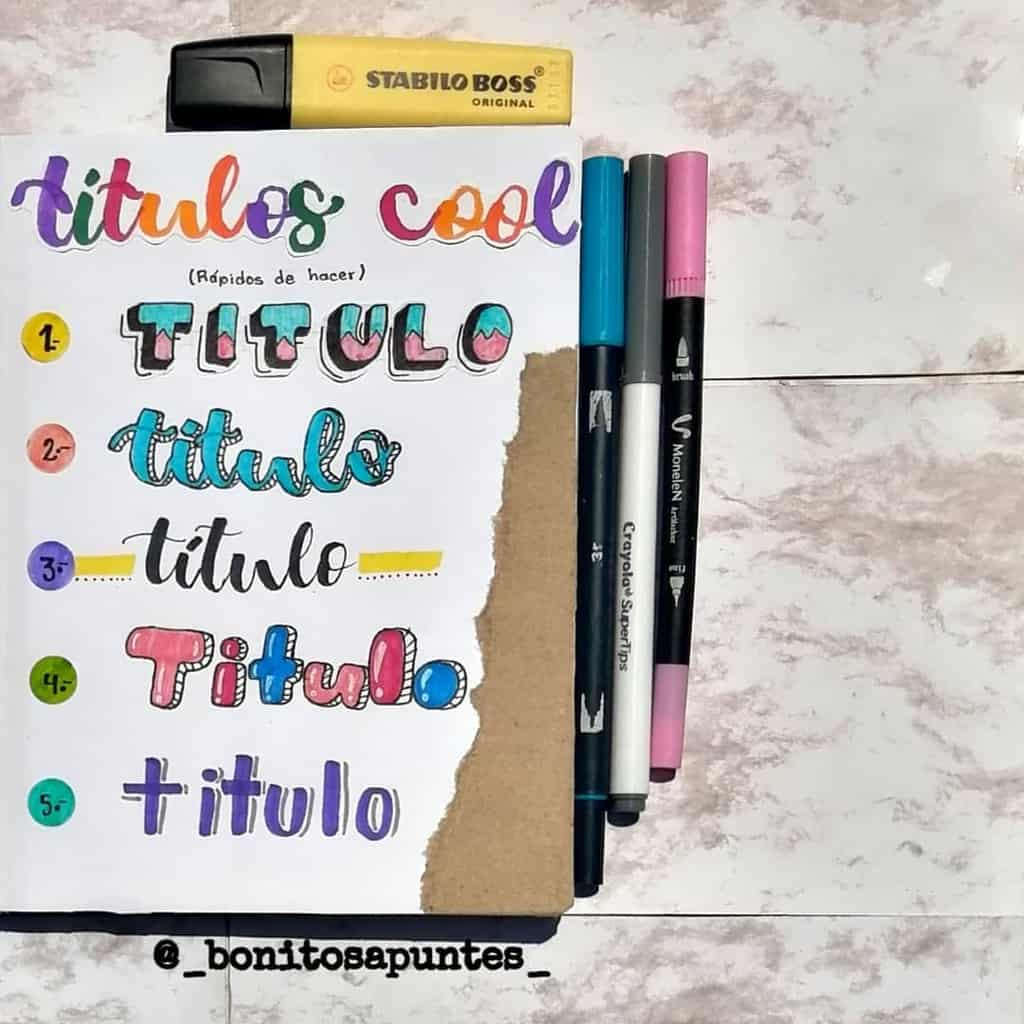 Bullet Journal Headers, ideas by @_bonitosapuntes_ | Masha Plans