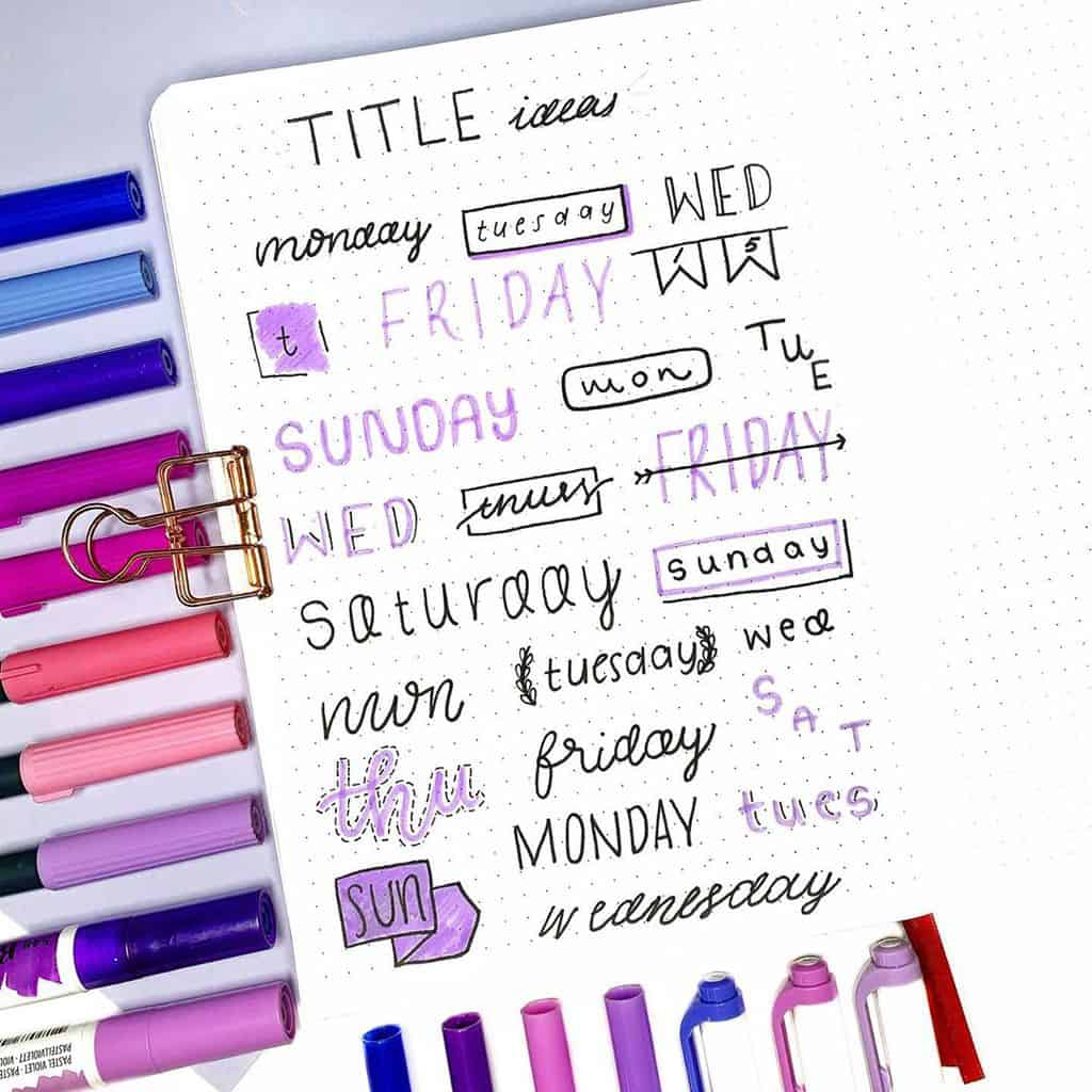 Bullet Journal Headers, ideas by @bujoabby | Masha Plans