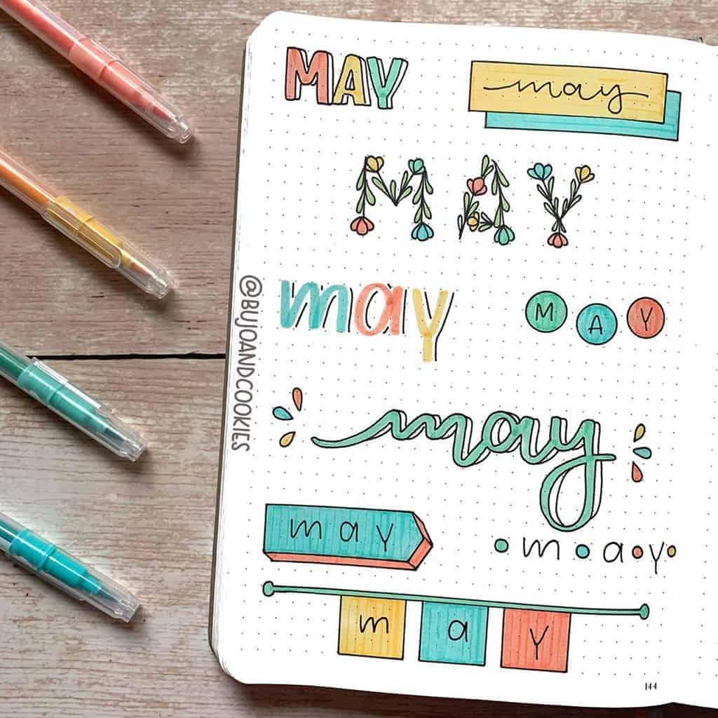 Bullet Journal Headers, ideas by @bujoandcookies | Masha Plans
