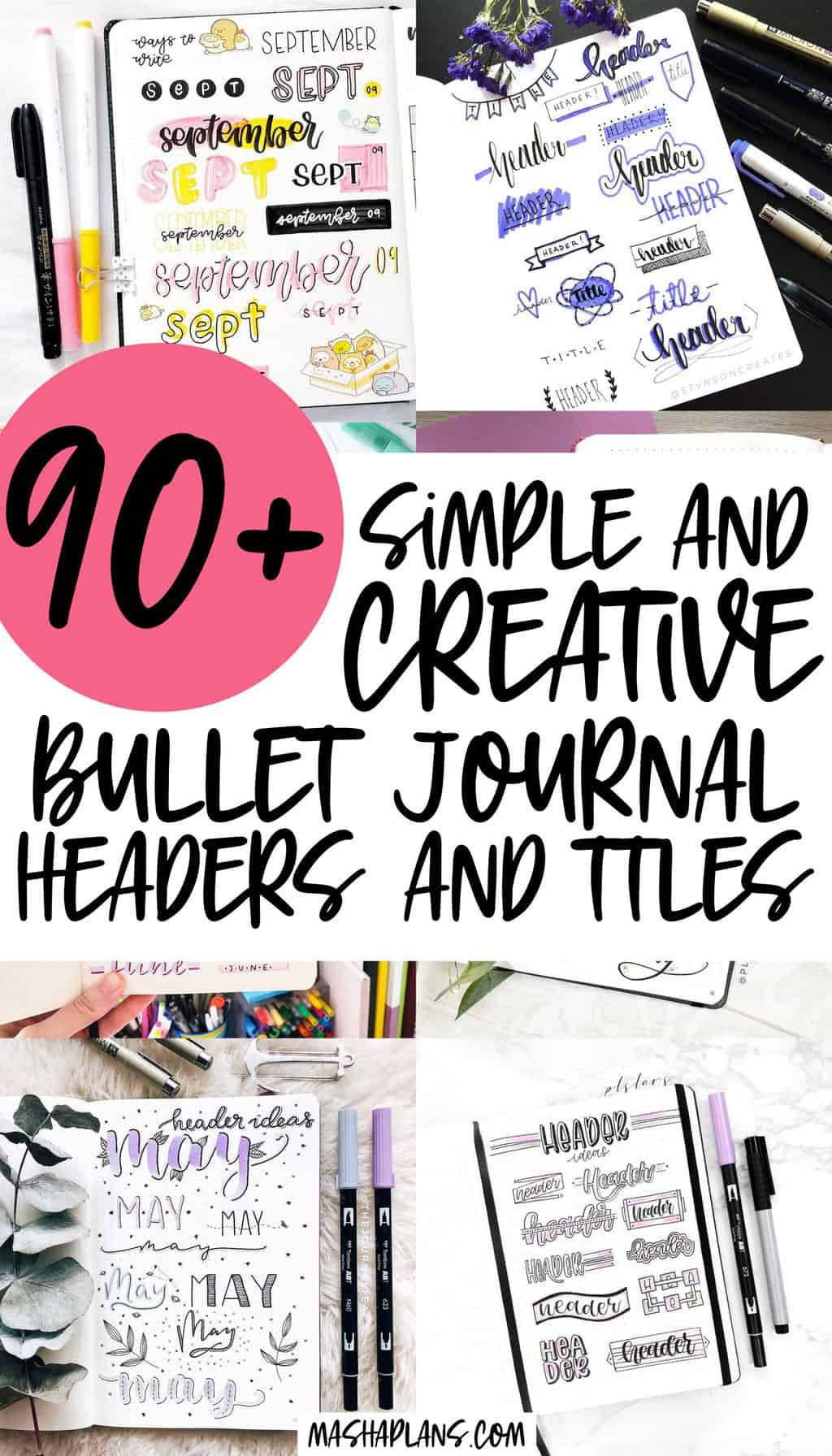 90+ Simple And Creative Bullet Journal Header And Title Ideas | Masha Plans