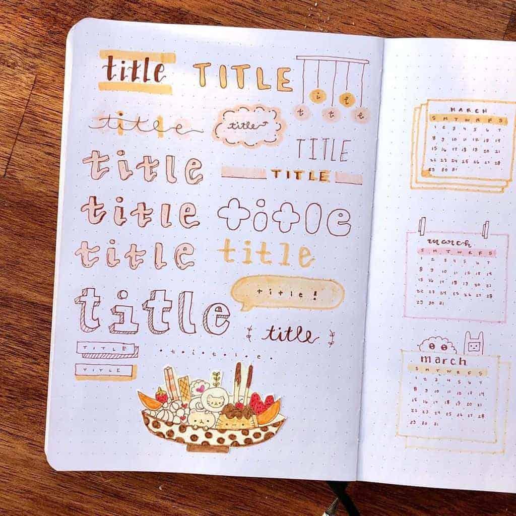 Bullet Journal Headers, ideas by @daynadoodles | Masha Plans