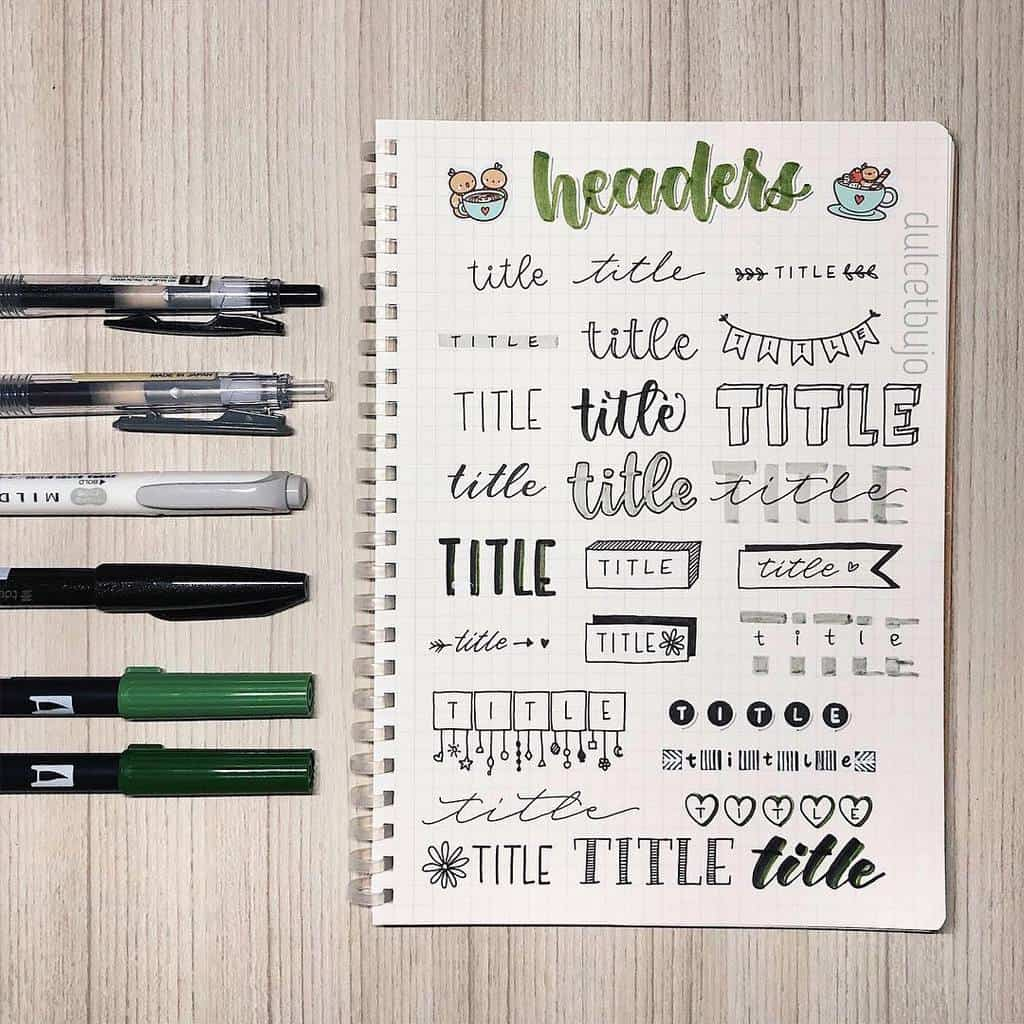 Bullet Journal Headers, ideas by @dulcetjournals | Masha Plans