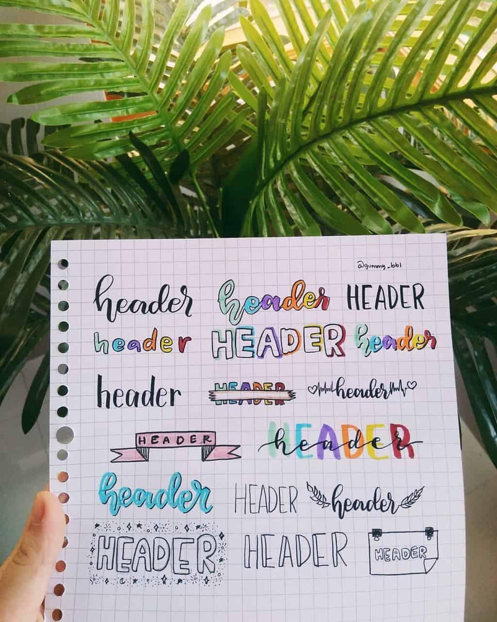 Bullet Journal Headers, ideas by @gummy_bbl | Masha Plans