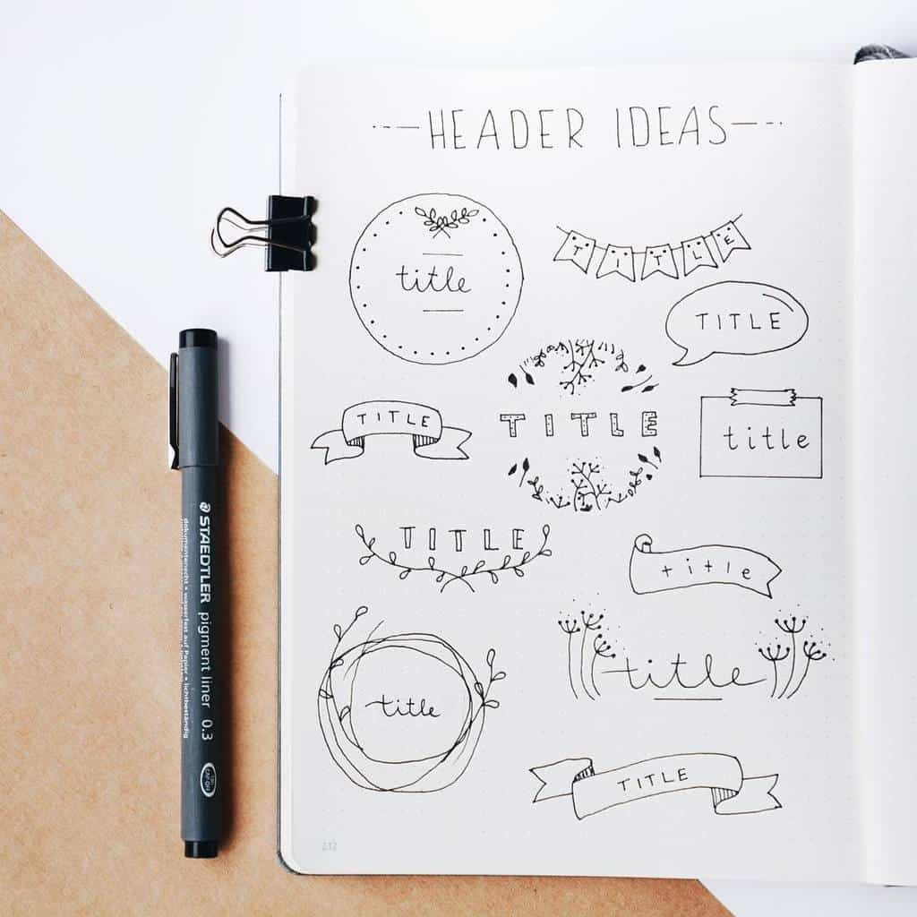 Bullet Journal Headers, ideas by @jade_journals | Masha Plans