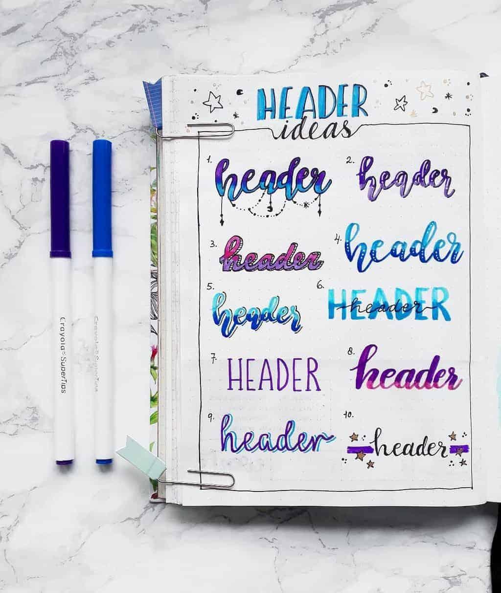 Bullet Journal Headers, ideas by @mathusbujo | Masha Plans