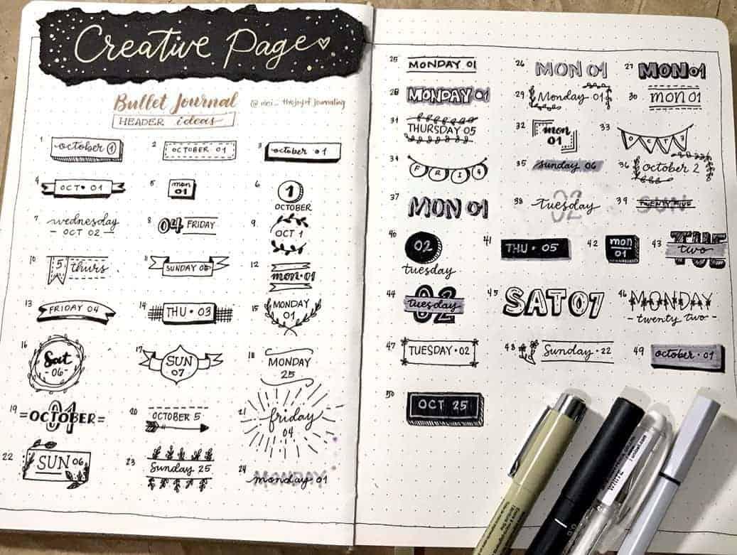 Bullet Journal Headers, ideas by @mei_thejoyofjournaling | Masha Plans