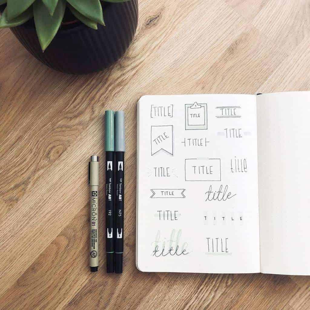 Bullet Journal Headers, ideas by @minimalistiskbujo | Masha Plans