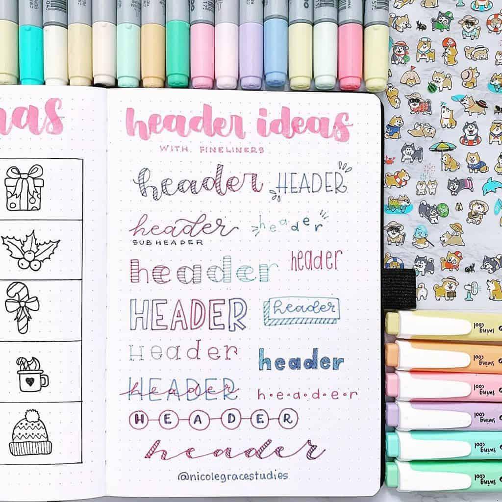 Bullet Journal Headers, ideas by @nicolegracestudies | Masha Plans