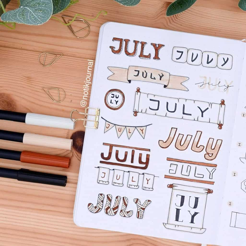 Bullet Journal Headers, ideas by @notikjournal | Masha Plans