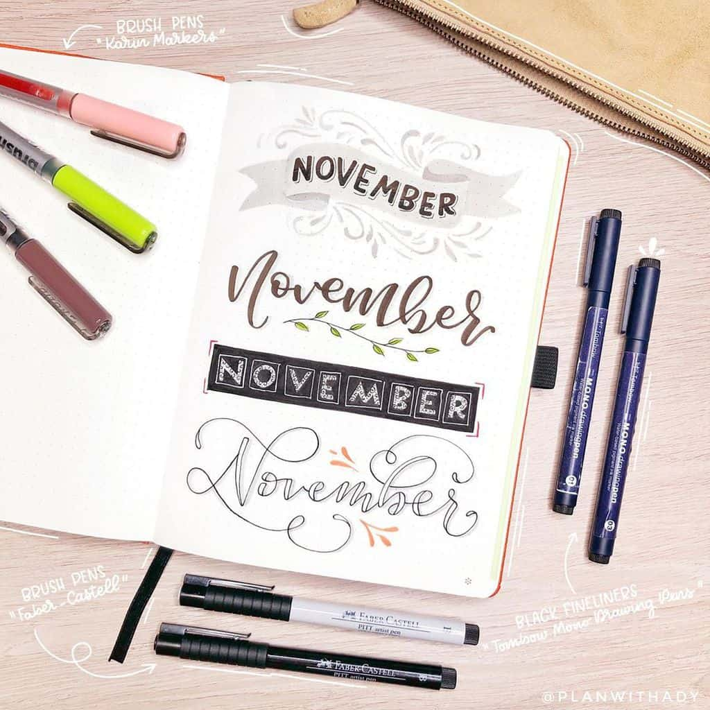Bullet Journal Headers, ideas by @planwithady | Masha Plans