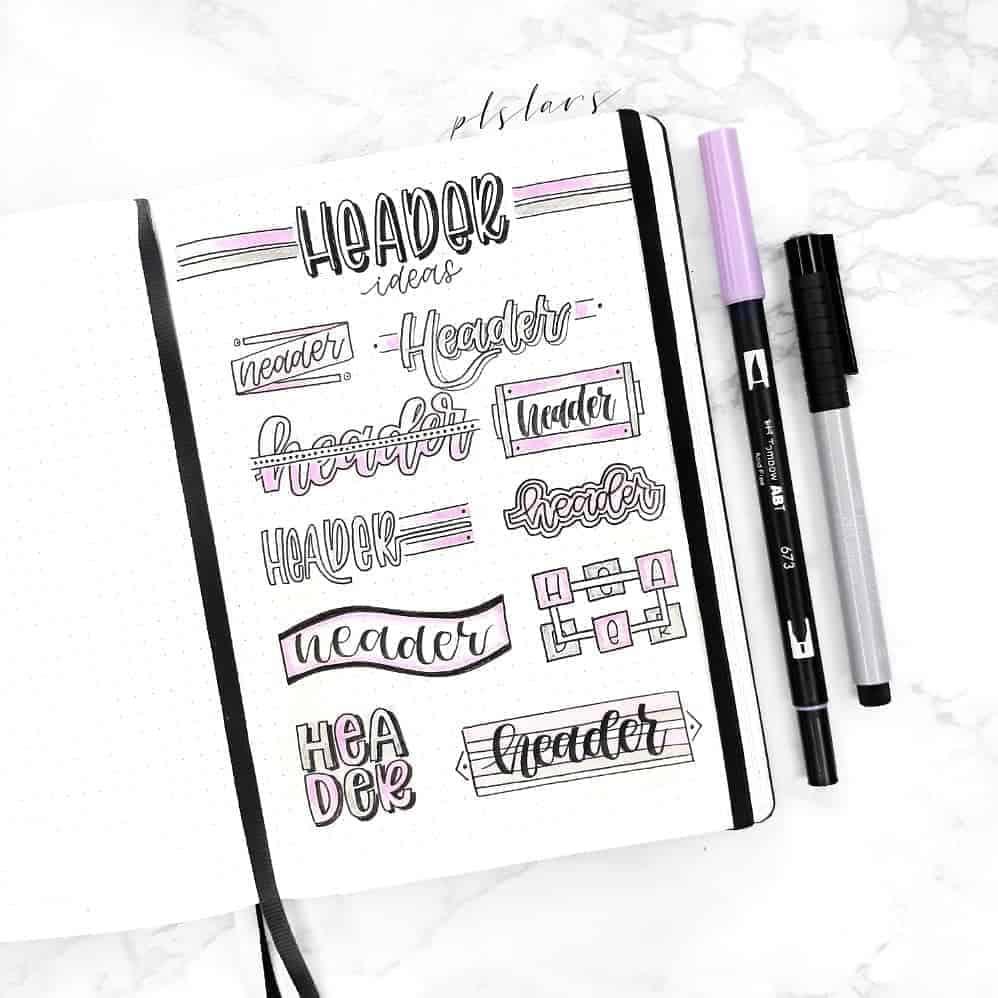 Bullet Journal Headers, ideas by @plslars | Masha Plans