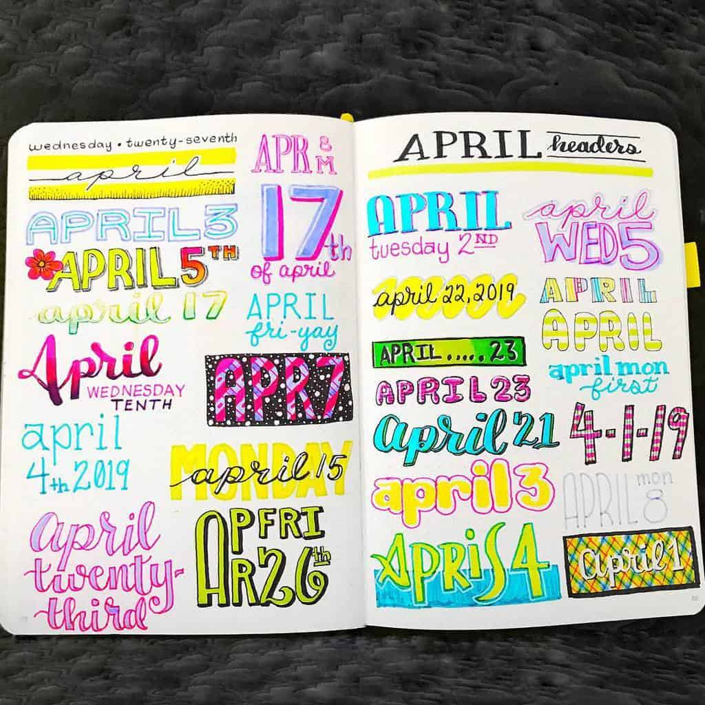 Bullet Journal Headers, ideas by @quietcollections | Masha Plans