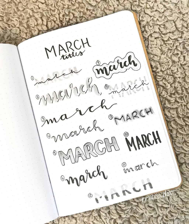 Bullet Journal Headers, ideas by @remco.diy | Masha Plans