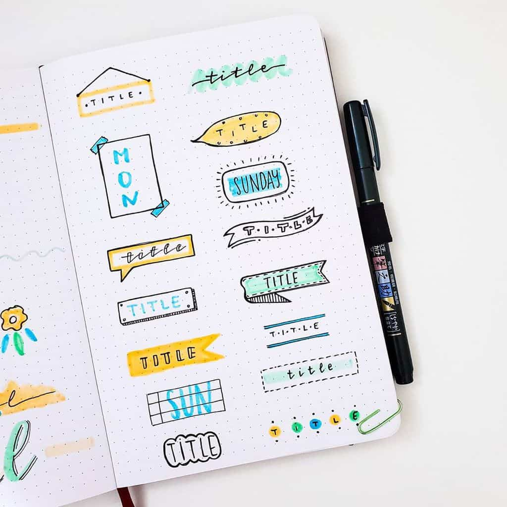 Bullet Journal Headers, ideas by @seed_successful_you | Masha Plans