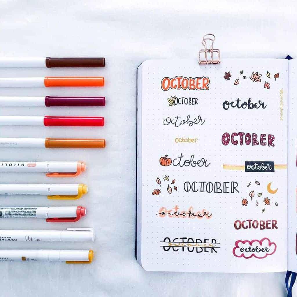 Bullet Journal Headers, ideas by @somekindwords | Masha Plans