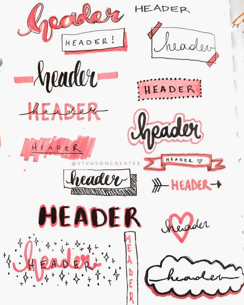 Bullet Journal Headers, ideas by @stvsoncreates | Masha Plans