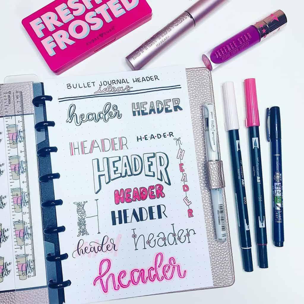 Bullet Journal Headers, ideas by @the.petite.planner | Masha Plans