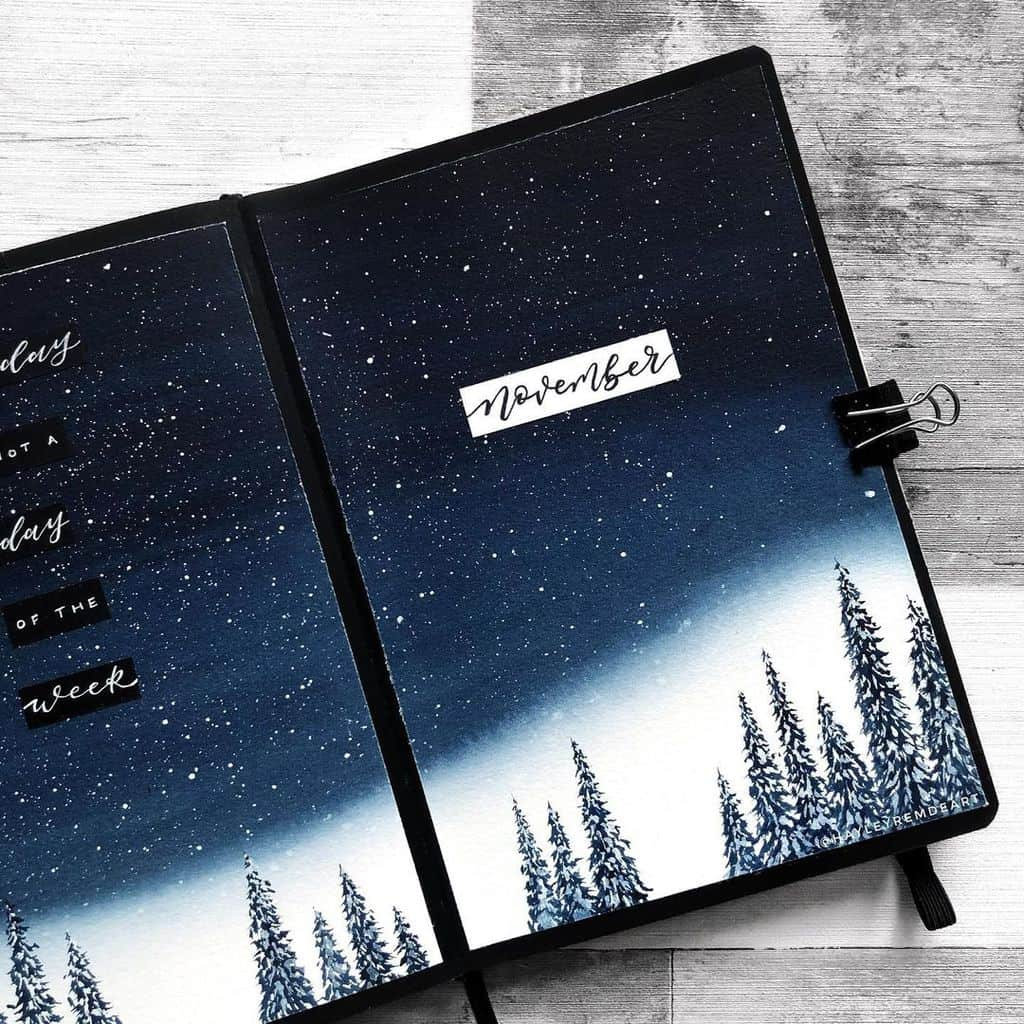 Winter Bullet Journal Theme Ideas, cover page by @hayleyremdeart | Masha Plans