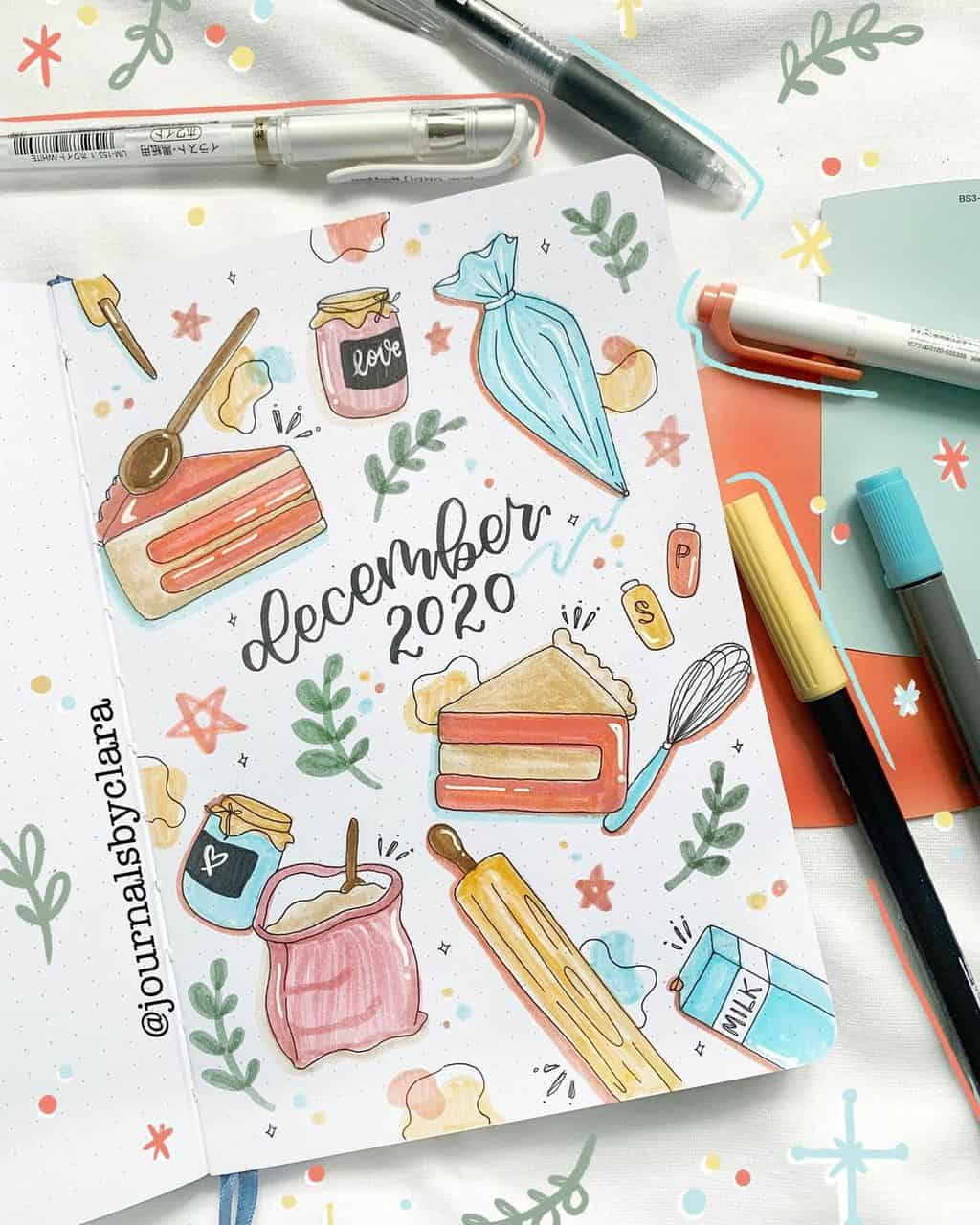 Winter Bullet Journal Theme Ideas, cover page by @journalsbyclara | Masha Plans