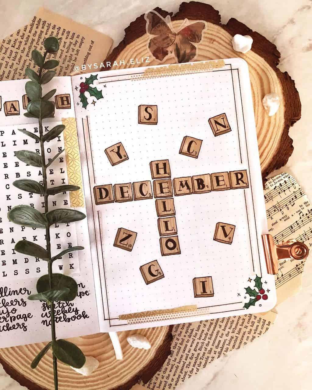 Winter Bullet Journal Inspirations, cover page by @bysarah.eliz | Masha Plans