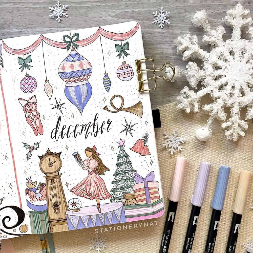 Winter Bullet Journal Inspirations, cover page by @stationerynat | Masha Plans