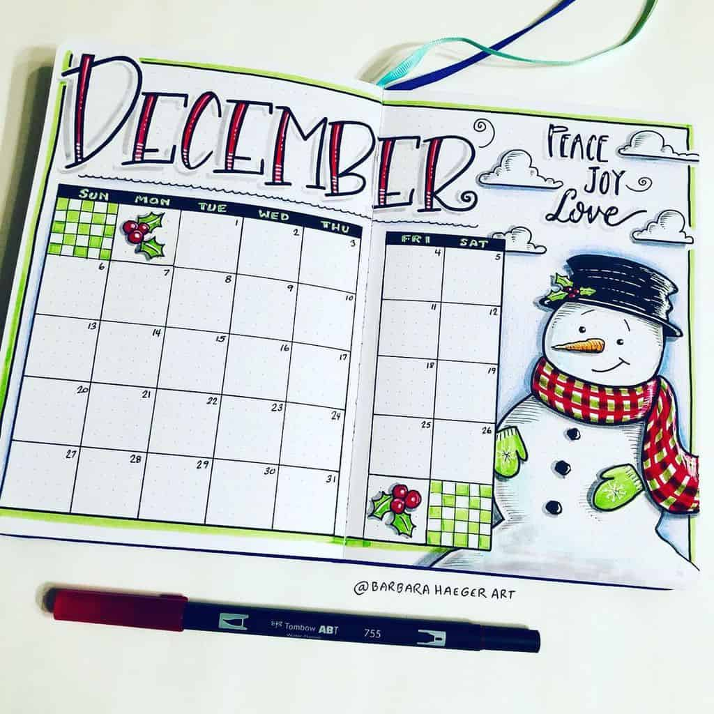 Winter Bullet Journal Theme Ideas, cover page by @barbarahaegerart | Masha Plans