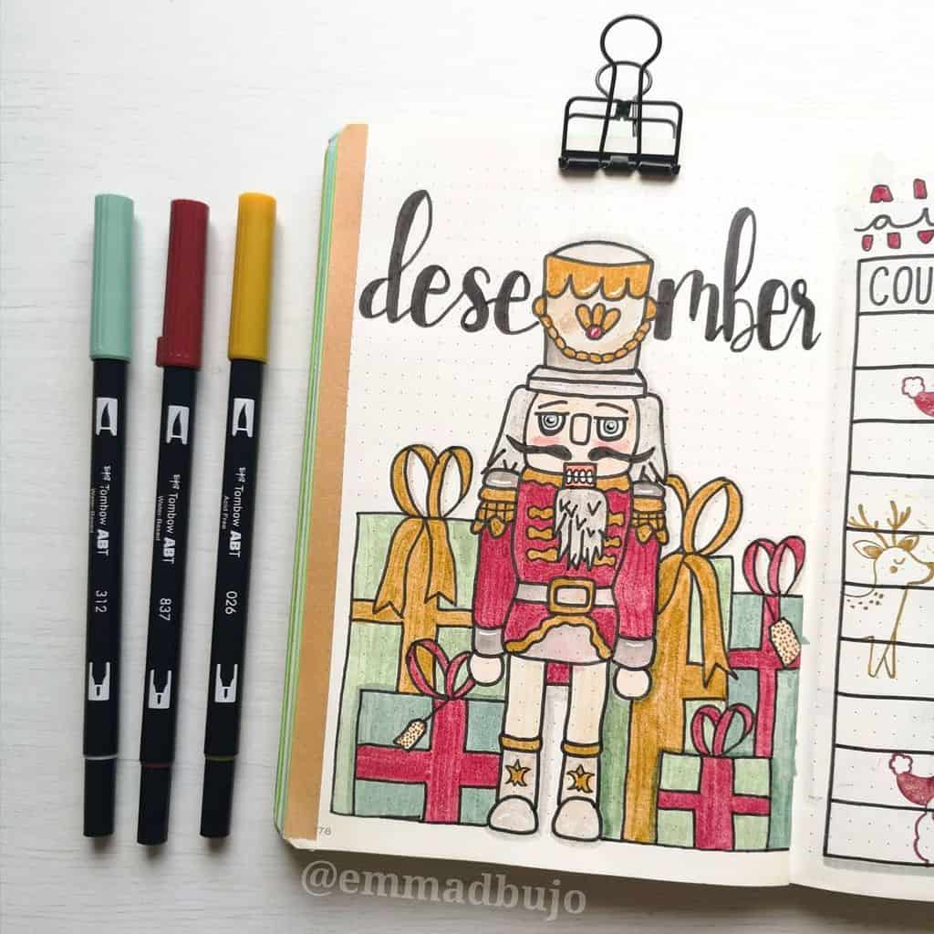 Winter Bullet Journal Theme Ideas, cover page by @emmadbujo | Masha Plans