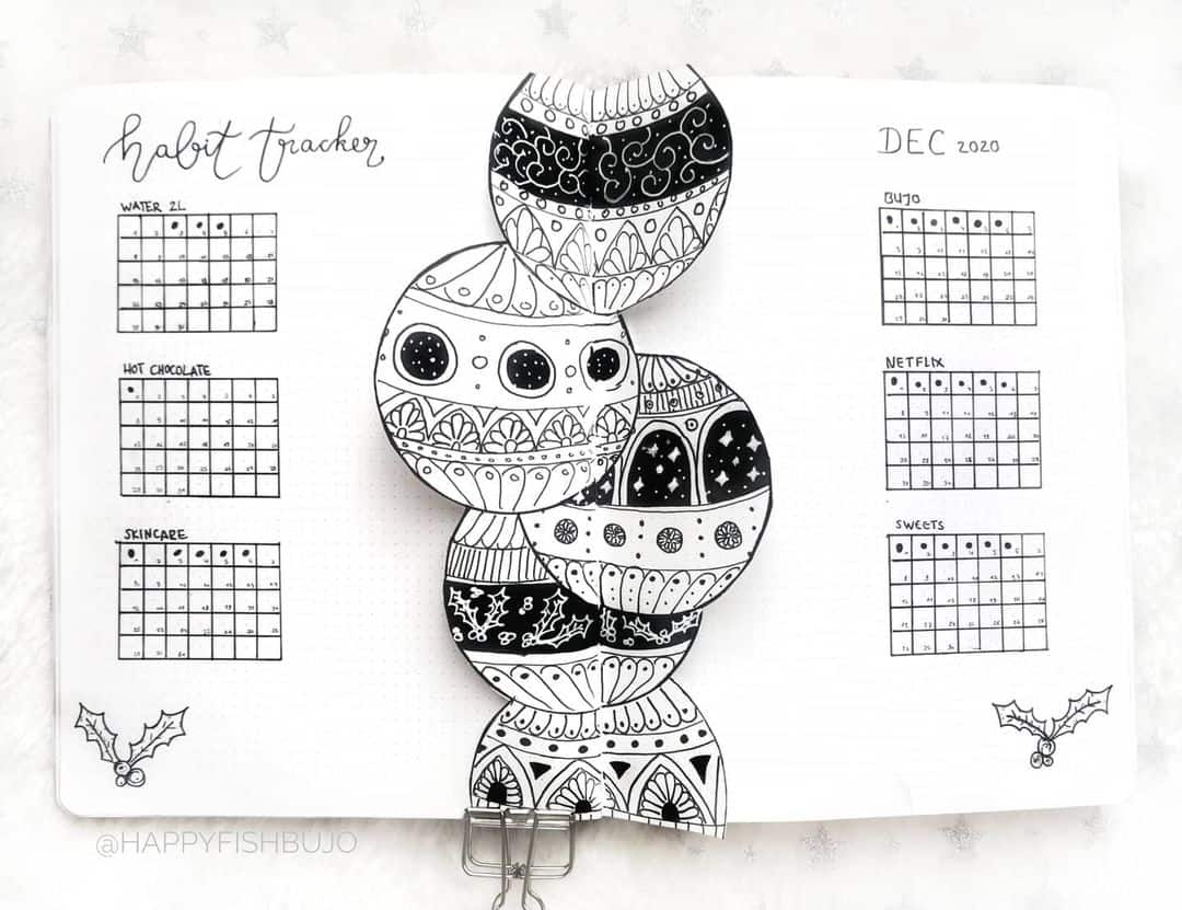 Winter Bullet Journal Inspirations, weekly spread by @happyfishbujo | Masha Plans