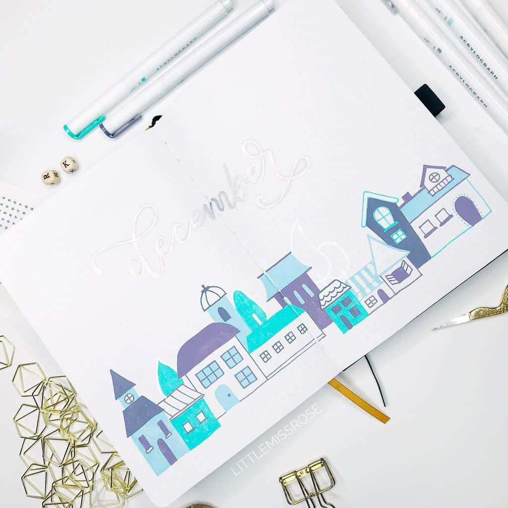 Winter Bullet Journal Theme Ideas, cover page by @littlemissrose | Masha Plans